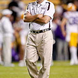 November 10, 2012; Baton Rouge, LA, USA;  Mississippi State Bulldogs head coach Dan Mullen prior to kickoff of a game against the LSU Tigers at Tiger Stadium.  Mandatory Credit: Derick E. Hingle-US PRESSWIRE