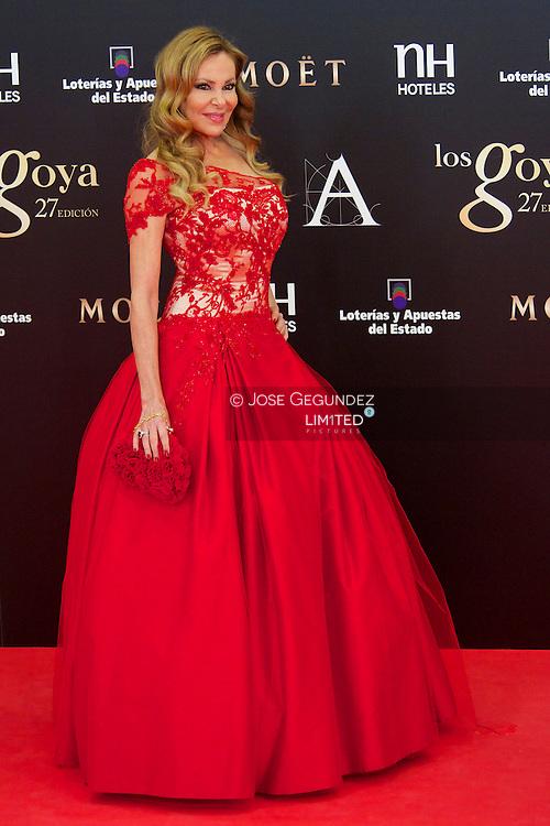 Ana Obregon arrives to Goya Cinema Awards 2013 ceremony, at Auditorium Hotel on February 17, 2013 in Madrid, Spain