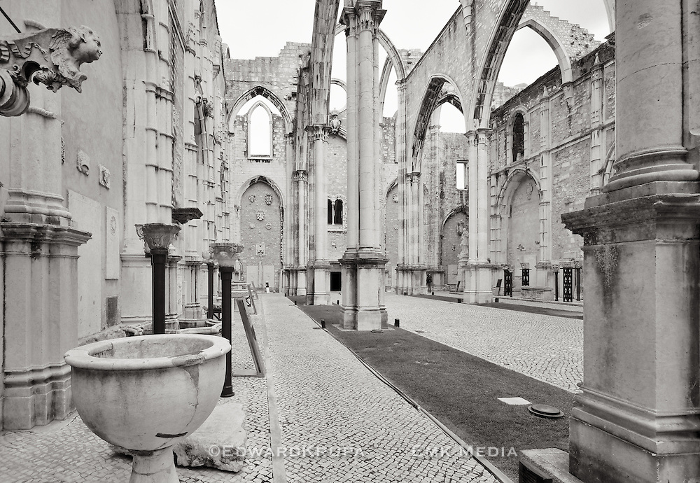 The ruins of the Igreja do Carmo left standing as a reminder of the devastation caused by 1755 earthquake which destroyed most of central Lisbon.