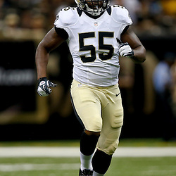 Aug 9, 2013; New Orleans, LA, USA; New Orleans Saints linebacker Eric Martin (55) against the Kansas City Chiefs during a preseason game at the Mercedes-Benz Superdome. The Saints defeated the Chiefs 17-13. Mandatory Credit: Derick E. Hingle-USA TODAY Sports