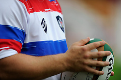 Close up of the Bristol Sport logo on the training top of Bristol Rugby - Photo mandatory by-line: Dougie Allward/JMP - Mobile: 07966 386802 01/09/2014 - SPORT - FOOTBALL - Bristol - Ashton Gate - Bristol Rugby Open Training Session - Green King IPA Championship