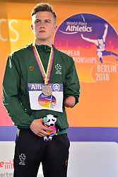 Lee Jordan, IRE receives his bronze medal in the T47 High Jump at the Berlin 2018 World Para Athletics European Championships