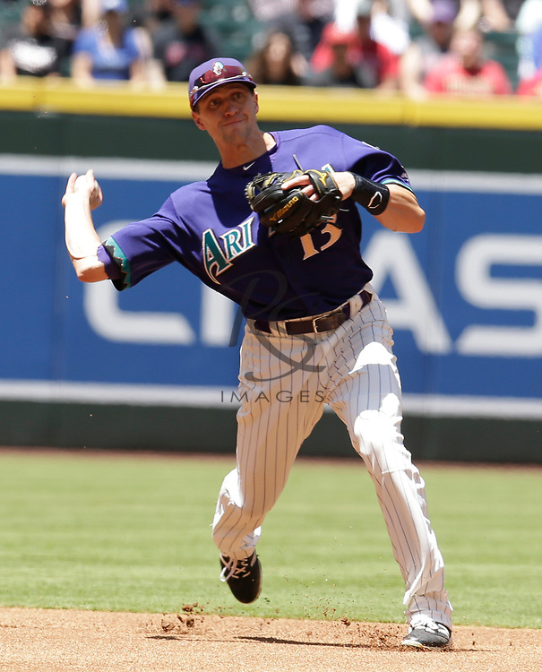 Arizona Diamondbacks shortstop Nick Ahmed (13) in the first inning during a baseball game against the Los Angeles Dodgers, Thursday, May 3, 2018, in Phoenix. (AP Photo/Rick Scuteri)
