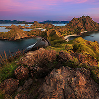 The sunrise view point from Padar Island where you can see three different beaches, Komodo National Park, Indonesia, 2016