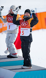 February 12, 2018 - Pyeongchang, South Korea - ENNI RUKAJARVI of Finland celebrates her bronze medal finish in the Womens Snowboard Slopestyle finals at Phoenix Snow Park at the Pyeongchang Winter Olympic Games.  Photo by Mark Reis, ZUMA Press/The Gazette (Credit Image: © Mark Reis via ZUMA Wire)