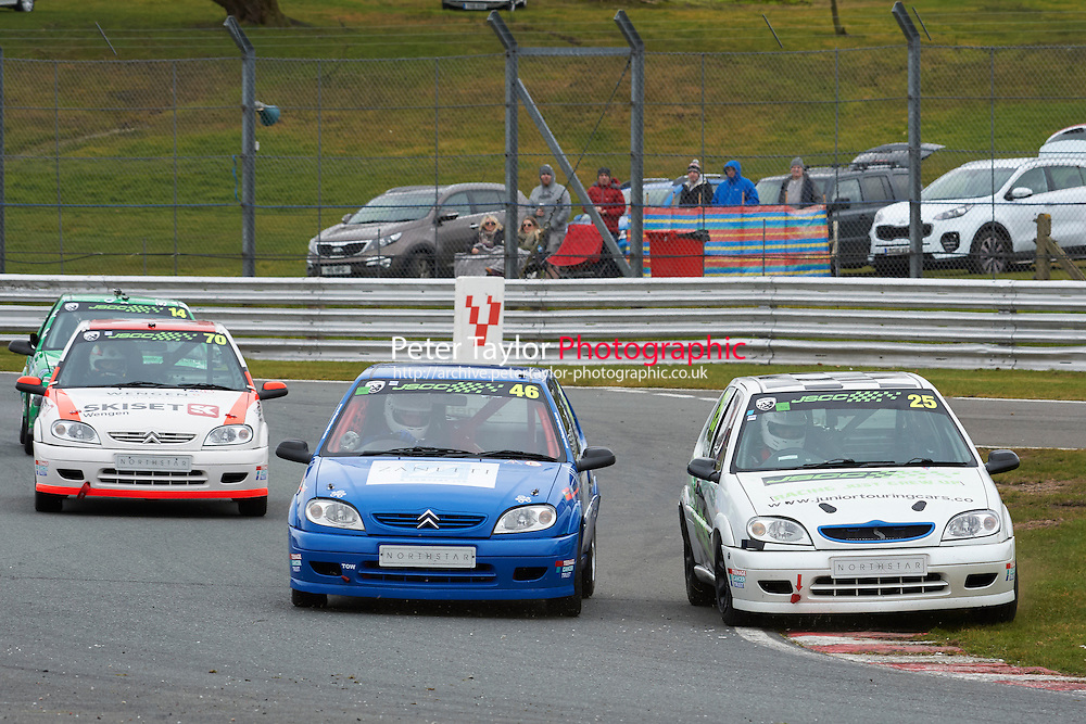#46 Matteo ZANETTI Citroen Saxo VTR 1600 and #25 Edward MOORE Citroen Saxo VTR 1600 during Junior Saloon Car Championship as part of the BARC NW - Championship Raceday  at Oulton Park, Little Budworth, Cheshire, United Kingdom. March 19 2016. World Copyright Peter Taylor/PSP. Copy of publication required for printed pictures.  Every used picture is fee-liable. http://archive.petertaylor-photographic.co.uk