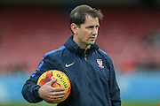 York City Manager Jackie McNamara  during the Sky Bet League 2 match between York City and Morecambe at Bootham Crescent, York, England on 19 December 2015. Photo by Simon Davies.