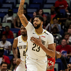 Oct 11, 2018; New Orleans, LA, USA; New Orleans Pelicans forward Anthony Davis (23) against the Toronto Raptors during the first half at the Smoothie King Center. Mandatory Credit: Derick E. Hingle-USA TODAY Sports