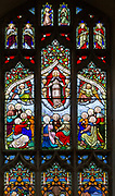 Stained glass window East Bergholt church, Suffolk, England, UK c 1837 by W H Constable of Cambridge, Ascension scene