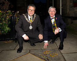 Pictured: Lord provost Donald Wilson and Ken Buchanan<br /> Edinburgh Award for 2016 presented to Ken Buchanan at the city chambers. A ceremony at the City Chambers for the recipient of this year's award, Ken Buchanan, who was presented with a Loving Cup by the Lord Provost. He was also reunited with his hand-prints which have been set in a flagstone within the grounds of the City Chambers and see his name etched on the city&rsquo;s Edinburgh Award honour board <br /> <br /> Scott Louden | EEm 3 March 2017