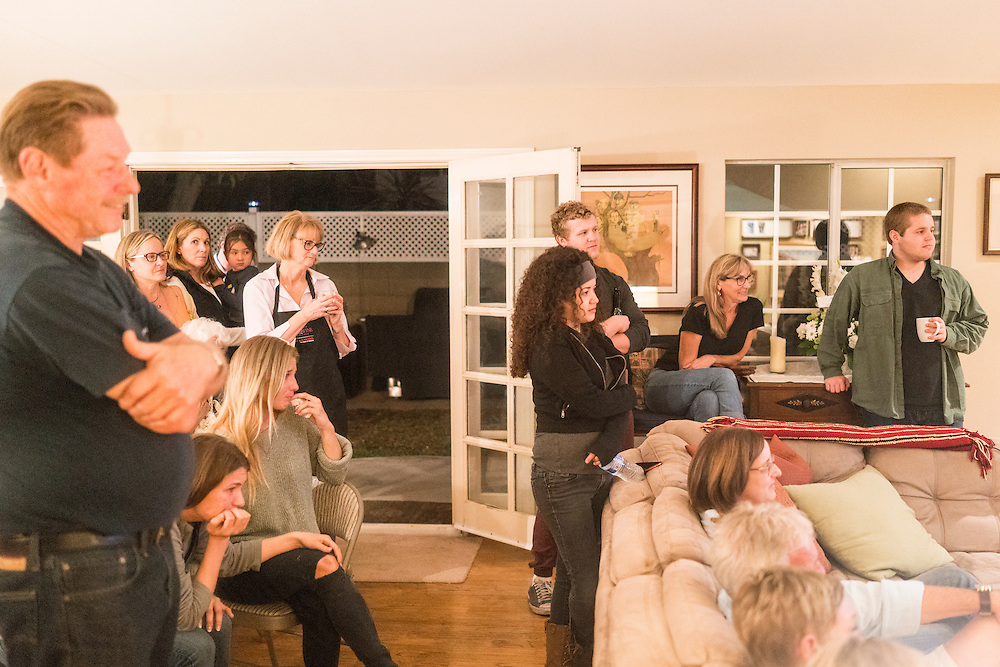 Cypress, California - February 19, 2016: Friends and family gather at The Barcott home the night before my half-brother Chris Roth's service. <br /> CREDIT: Matt Roth