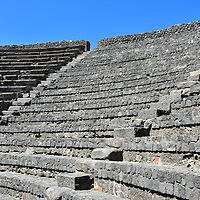 Seating at Small Theatre in Pompeii, Italy<br />