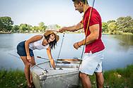 Fishing near Cedar Springs, Michigan.
