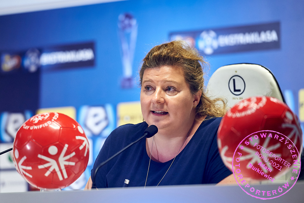 Warsaw, Poland - 2017 May 18: Joanna Styczen - National General Director of Special Olympics Poland speaks during press conference while the annual Special Olympics European Football Week at Legia Warsaw on May 18, 2017 in Warsaw, Poland.<br /> <br /> Adam Nurkiewicz declares that he has no rights to the image of people at the photographs of his authorship.<br /> <br /> Picture also available in RAW (NEF) or TIFF format on special request.<br /> <br /> Any editorial, commercial or promotional use requires written permission from the author of image.<br /> <br /> Image can be used in the press when the method of use and the signature does not hurt people on the picture.<br /> <br /> Mandatory credit:<br /> Photo by &copy; Adam Nurkiewicz / Mediasport