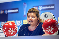 Warsaw, Poland - 2017 May 18: Joanna Styczen - National General Director of Special Olympics Poland speaks during press conference while the annual Special Olympics European Football Week at Legia Warsaw on May 18, 2017 in Warsaw, Poland.<br /> <br /> Adam Nurkiewicz declares that he has no rights to the image of people at the photographs of his authorship.<br /> <br /> Picture also available in RAW (NEF) or TIFF format on special request.<br /> <br /> Any editorial, commercial or promotional use requires written permission from the author of image.<br /> <br /> Image can be used in the press when the method of use and the signature does not hurt people on the picture.<br /> <br /> Mandatory credit:<br /> Photo by © Adam Nurkiewicz / Mediasport