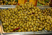 Green Olives on sale Photographed at Machane Yehuda Market, Jerusalem, Israel