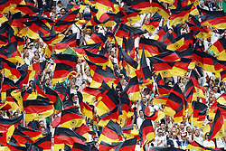 fans of Germany with Flags during the 2018 FIFA World Cup Russia group F match between Germany and Mexico at the Luzhniki Stadium on June 17, 2018 in Moscow, Russia