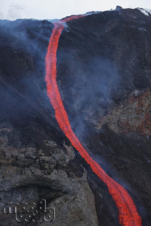 Molten lava flows from Eyjafjallajokull Fimmvorduhals Iceland