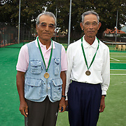Seikei Mori, Japan, (left) and Seiki Tokuhiro, Japan,  Semi Finalists  75 Mens Doubles during the 2009 ITF Super-Seniors World Team and Individual Championships at Perth, Western Australia, between 2-15th November, 2009.