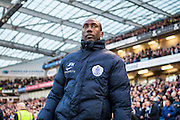 Queens Park Rangers manager Jimmy Floyd Hasselbaink during the Sky Bet Championship match between Brighton and Hove Albion and Queens Park Rangers at the American Express Community Stadium, Brighton and Hove, England on 19 April 2016. Photo by Bennett Dean.