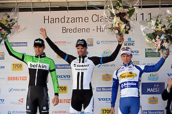 Handzame - Belgium - wielrennen - cycling - radsport - cyclisme - Theo Bos (Ned - Belkin-Pro Cycling Team) - Luka Mezgec (Slovenia / Team - GIANT - Shimano)  - Theuns Edward (Bel - Topsport Vlaanderen - Baloise) pictured during the Handzame Classic cycling race on March 21, 2014 in Handzame,  Belgium  - photo JB/PN/Cor Vos © 2014