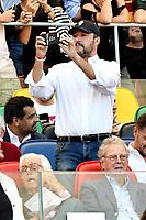 Interior minister Matteo Salvini takes pictures from the tribune <br /> Roma 28-09-2018 Stadio Olimpico Football Calcio Serie A 2018/2019 AS Roma - Lazio Foto Andrea Staccioli / Insidefoto