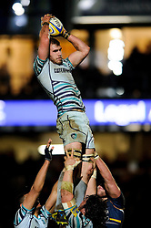 Leicester Flanker (#6) Tom Croft wins a lineout during the first half of the match - Photo mandatory by-line: Rogan Thomson/JMP - Tel: Mobile: 07966 386802 04/01/2012 - SPORT - RUGBY - Sixways - Worcester. Worcester Warriors v Leicester Tigers - Aviva Premiership.