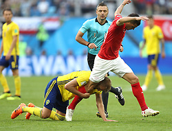 SAINT PETERSBURG, July 3, 2018  Granit Xhaka (R) of Switzerland clashes with Ola Toivonen of Sweden during the 2018 FIFA World Cup round of 16 match between Switzerland and Sweden in Saint Petersburg, Russia, July 3, 2018. Sweden won 1-0 and advanced to the quarter-final. (Credit Image: © Cao Can/Xinhua via ZUMA Wire)