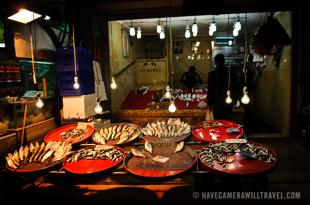 The last of the day's catch is on display in the evening at a fresh fish store next to the Spice Bazaar (also known as the Egyption Bazaar) in Istanbul, Turkey.