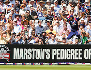 Photo © ANDREW FOSKER / SECONDS LEFT IMAGES 2008  - The crowd prepare to catch the ball as Alastair Cook leaps in a vain attempt to stop an enormous six over the covers from Scott Styris of James Anderson's bowling -   England v New Zealand Black Caps - 5th ODI - Lord's Cricket Ground - 28/06/08 - London -  UK - All rights reserved