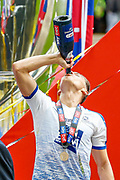 PROMOTED promotion Tranmere Rovers defender Sid Nelson (4) drinks champagne after the EFL Sky Bet League 2 Play Off Final match between Newport County and Tranmere Rovers at Wembley Stadium, London, England on 25 May 2019.