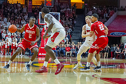 NORMAL, IL - February 16: LuQman Lundy controls the ball in a group that includes Malik Yarbrough, Isaac Gassman and Ja'Shon Henry during a college basketball game between the ISU Redbirds and the Bradley Braves on February 16 2019 at Redbird Arena in Normal, IL. (Photo by Alan Look)