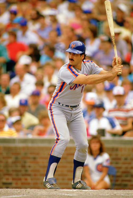CHICAGO - 1986: Keith Hernandez of the New York Mets bats during an MLB game against the Chicago Cubs at Wrigley Field in Chicago, Illinois during the 1986 season. (Photo by Ron Vesely).  Subject:   Keith Hernandez