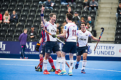 Wimbledon's Simon Mantell celebrates scoring. Wimbledon v Hampstead & Westminster - Semi-Final - Men's Hockey League Finals, Lee Valley Hockey & Tennis Centre, London, UK on 22 April 2017. Photo: Simon Parker