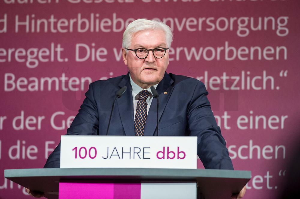 29 NOV 2018, BERLIN/GERMANY:<br /> Festakt mit Bundespraesident Steinmeier anl. des 100. Gruendungsjubilaeums des Beamtenbunds, dbb forum berlin<br /> IMAGE: 20181129-01-140<br /> KEYWORDS;´: Gründung, Jubiläum,