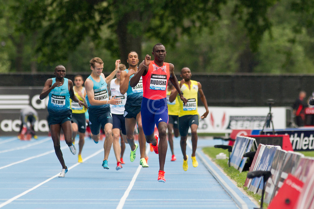 adidas Grand Prix Diamond League professional track & field meet: mens 800 meters, David Rudisha, Kenya. Erik Sowinski falls