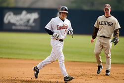 Virginia Cavaliers outfield David Coleman (9) in action against Lehigh.  The #17 ranked Virginia Cavaliers baseball team defeated the Lehigh Mountain Hawks 5-1 in the 2008 season opener at the University of Virginia's  Davenport Field in Charlottesville, VA on February 23, 2008.