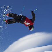 Wing Tai Barrymore, USA, in action in the Men's Halfpipe Finals during The North Face Freeski Open at Snow Park, Wanaka, New Zealand, 3rd September 2011. Photo Tim Clayton...