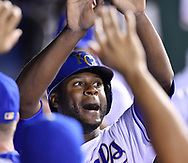 May 12, 2017 - Kansas City, MO, USA - Kansas City Royals' Lorenzo Cain is congratulated after scoring on a double by Eric Hosmer in the eighth inning against the Baltimore Orioles on Friday, May 12, 2017 at Kauffman Stadium in Kansas City, Mo. (Credit Image: © John Sleezer/TNS via ZUMA Wire)