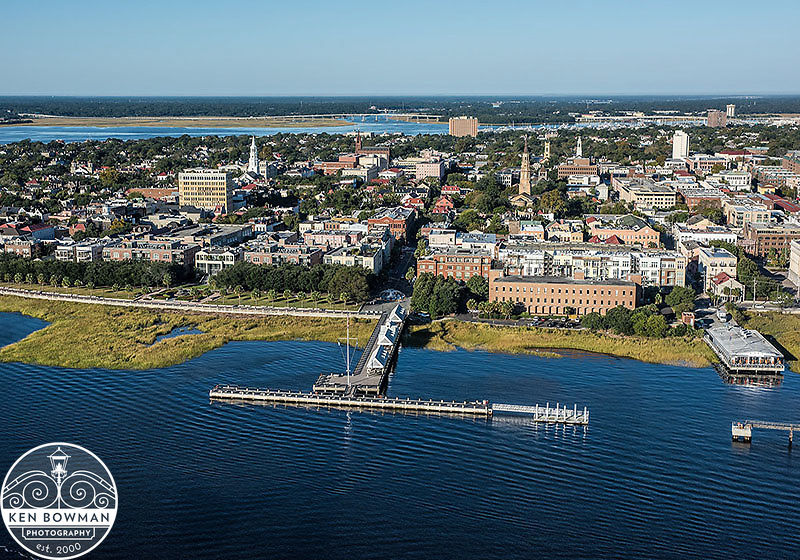 Aerial photograph of Charleston skyline.
