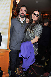 GRACE WOODWARD and her husband KEN DREWERY at the Johnnie Walker Blue Label and David Gandy partnership launch party held at Annabel's, 44 Berkeley Square, London on 5th February 2013.