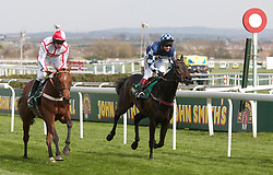 LIVERPOOL, ENGLAND - Friday, April 9, 2010: General Miller ridden by Barry Geraghty (L) beats Menorah ridden by Richard Johnson (R)as he wins the opening race during the second day of the Grand National Festival at Aintree Racecourse. (Pic by David Rawcliffe/Propaganda)