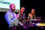 """Erik Lorenzsonn talks during the live taping of the """"Madsplainers"""" Podcast at High Noon Saloon in Madison, WI on Tuesday, April 9, 2019."""