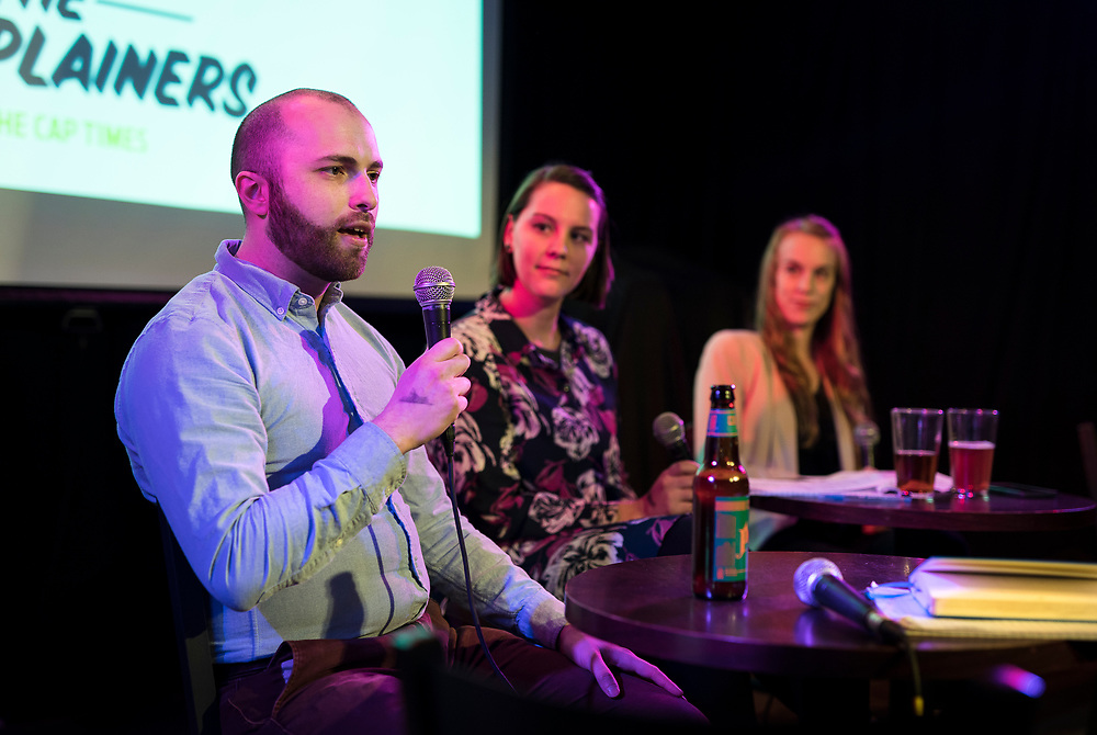 "Erik Lorenzsonn talks during the live taping of the ""Madsplainers"" Podcast at High Noon Saloon in Madison, WI on Tuesday, April 9, 2019."
