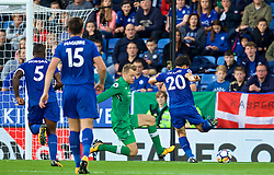 LEICESTER, ENGLAND - Saturday, September 23, 2017: Leicester City's Shinji Okazaki scores a goal past Liverpool's goalkeeper Simon Mignolet but sees it disallowed during the FA Premier League match between Leicester City and Liverpool at the King Power Stadium. (Pic by David Rawcliffe/Propaganda)