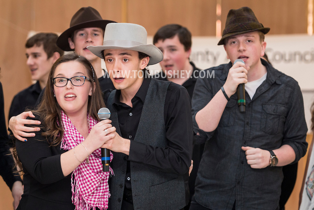"Town of Wallkill, New York - Port Jervis High School students perform a sample of the musical ""Guys and Dolls"" in the 2017 All-County Musical Showcase and Visual Arts Display at the Galleria at Crystal Run on Feb. 25, 2017."