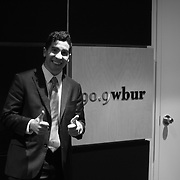 While leaving NPR studios in Boston, Valga looks to the camera and thumbed.<br />