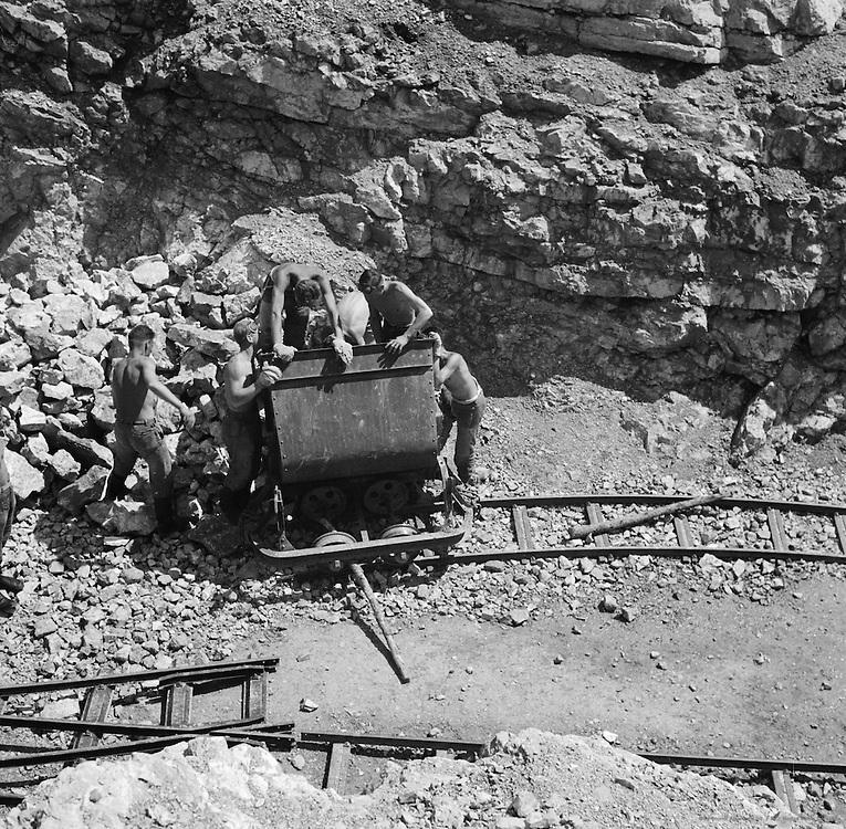 Men Drafted to the Nazi Construction Unit 'Reichsarbeitsdienst' Working on 'Deutsche Alpenstrasse' from Lake Constance to Königsee near Berchtesgaden, Bavaria, c. 1938