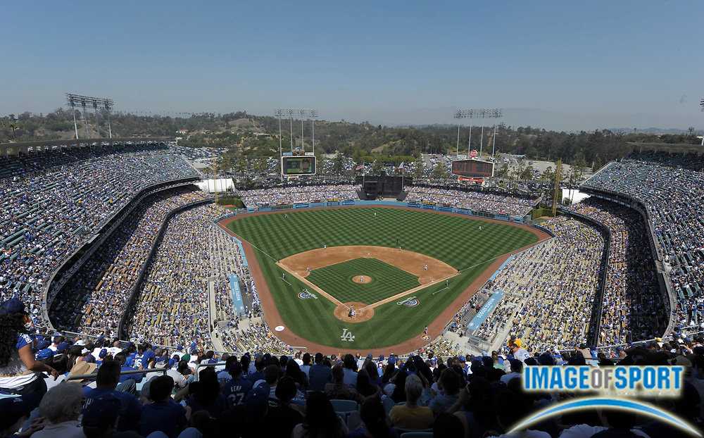 Apr 10, 2012; Los Angeles, CA, USA; General view of Dodger Stadium during the 2012 opening day game between the Pittsburgh Pirates and the Los Angeles Dodgers.