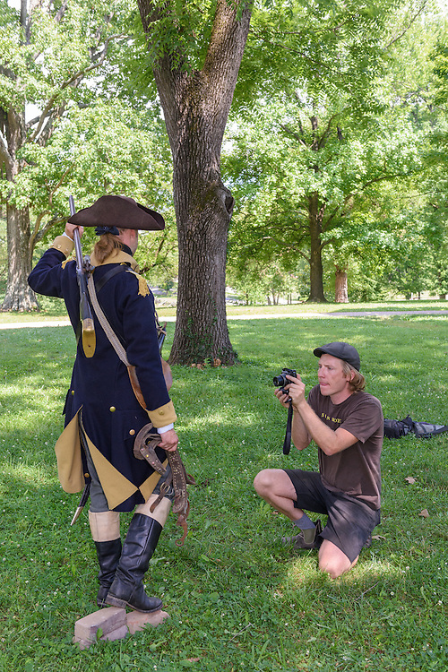 Actor and musician Will Oldham poses Thursday, June 30, 2016 in period clothing for photos at Locust Grove for a statue of his distant cousin, Col. Will Oldham, being made by sculptor Matthew Weir for the Oldham County courthouse. (Photo by Brian Bohannon)
